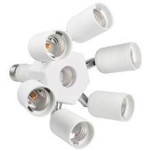 MENGS 7 In 1 E27 To E27 Adjust All Direction LED Lamp Socket With Heat  Resistant PBT Material Splitter Adapter For Photo Studio  Light Socket  Converter
